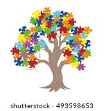 puzzle pieces in autism...   Shutterstock .eps vector #493598653