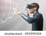 man using virtual reality...