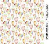 seamless pattern whith hot air... | Shutterstock . vector #493600300