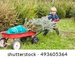 happy child pulling a cart with ... | Shutterstock . vector #493605364