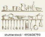 retro kitchen shelves and... | Shutterstock .eps vector #493608793