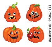 set pumpkins for halloween. set ...   Shutterstock .eps vector #493614568
