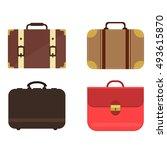 summer time travel bag set.  | Shutterstock .eps vector #493615870