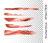 metallic paint brush stroke set.... | Shutterstock .eps vector #493617856