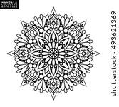flower mandala. vintage... | Shutterstock .eps vector #493621369