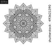 flower mandala. vintage... | Shutterstock .eps vector #493621390