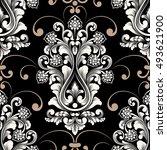 vector damask seamless pattern...   Shutterstock .eps vector #493621900