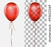 realistic red balloon isolated... | Shutterstock .eps vector #493622269