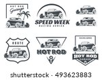 set of hot rod logo  emblems... | Shutterstock .eps vector #493623883