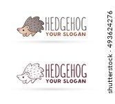 hedgehog logo. hedgehog vector... | Shutterstock .eps vector #493624276