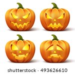 halloween pumpkins in vector... | Shutterstock .eps vector #493626610