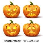 halloween pumpkins in vector... | Shutterstock .eps vector #493626610