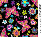 vector seamless geometric cute... | Shutterstock .eps vector #493633183