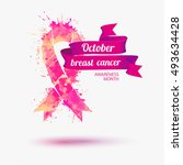 october   breast cancer... | Shutterstock .eps vector #493634428