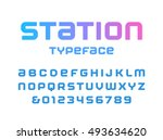 rounded square font. vector... | Shutterstock .eps vector #493634620