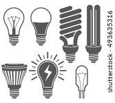 black and white light bulb... | Shutterstock .eps vector #493635316
