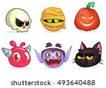 halloween characters icon set.... | Shutterstock .eps vector #493640488