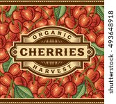 retro cherry harvest label | Shutterstock . vector #493648918