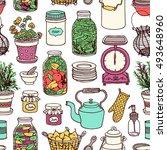 rustic kitchen vector seamless... | Shutterstock .eps vector #493648960