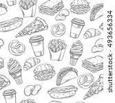 fast food decorative seamless... | Shutterstock .eps vector #493656334