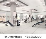 interior of new modern gym with ... | Shutterstock . vector #493663270