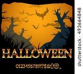 halloween fantasy gold style... | Shutterstock .eps vector #493664848