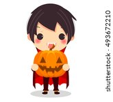cute vampire hold pumpkin for... | Shutterstock .eps vector #493672210