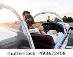 wedding travel. happy couple ... | Shutterstock . vector #493672408