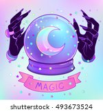 crystal ball with purple female ... | Shutterstock .eps vector #493673524