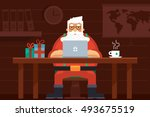 santa work space with laptop ... | Shutterstock .eps vector #493675519