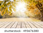 empty wooden table with autumn... | Shutterstock . vector #493676380