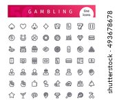 set of 56 casino gambling  line ... | Shutterstock .eps vector #493678678