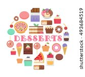 desserts composition. vector... | Shutterstock .eps vector #493684519