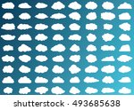 cloud vector icon set white... | Shutterstock .eps vector #493685638