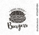 burger vintage label. vector... | Shutterstock .eps vector #493689484