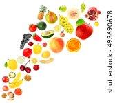 assorted fruit like flying... | Shutterstock . vector #493690678
