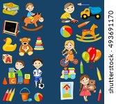 vector kindergarten pattern... | Shutterstock .eps vector #493691170