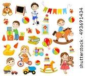 vector kindergarten pattern... | Shutterstock .eps vector #493691434