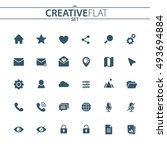 universal flat icons set for... | Shutterstock .eps vector #493694884
