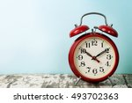 red old retro style alarm clock ... | Shutterstock . vector #493702363