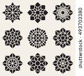set of nine black vector... | Shutterstock .eps vector #493703380