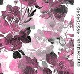 imprints flower from flowerbed. ... | Shutterstock . vector #493704340