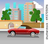 retro car in city. vector... | Shutterstock .eps vector #493705096