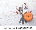 thanksgiving meal setting | Shutterstock . vector #493706188