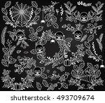vector collection of spooky... | Shutterstock .eps vector #493709674
