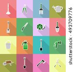 gardening tools flat icons... | Shutterstock .eps vector #493709776