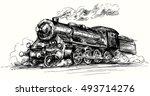 steam locomotive.hand drawn... | Shutterstock .eps vector #493714276