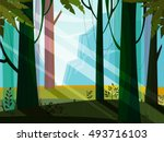 landscape with jungle mountain... | Shutterstock .eps vector #493716103