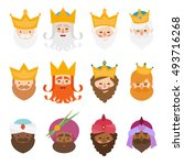 the three kings of orient... | Shutterstock .eps vector #493716268