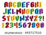 vector isometric pixel 3d... | Shutterstock .eps vector #493717510